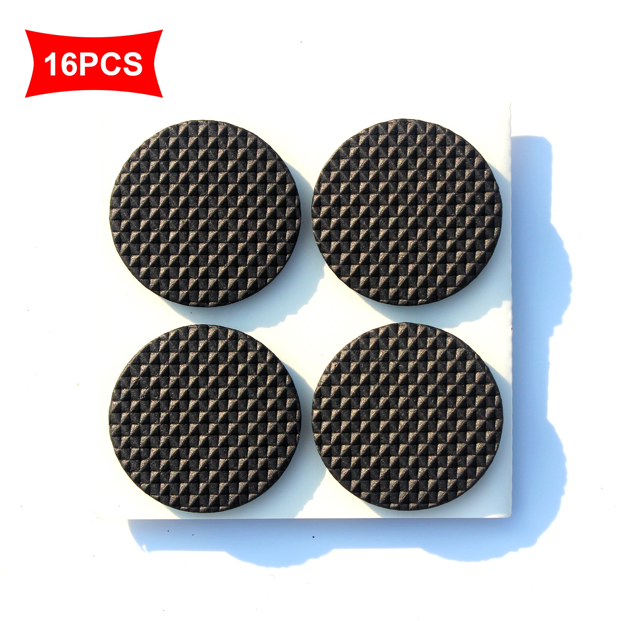 Premium Furniture Pads,Thick Non-Slip Rubber (No glue or Nails) Pad Foot Cover Self-Furniture Gripper - Stops Slide -- Adhesive Pads - Protectors (Round 1 inch 36PCS)