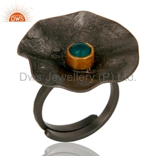 Flower Design Rhodium Plated Ring Handmade Brass Jewelry Green Onyx Gemstone Ring