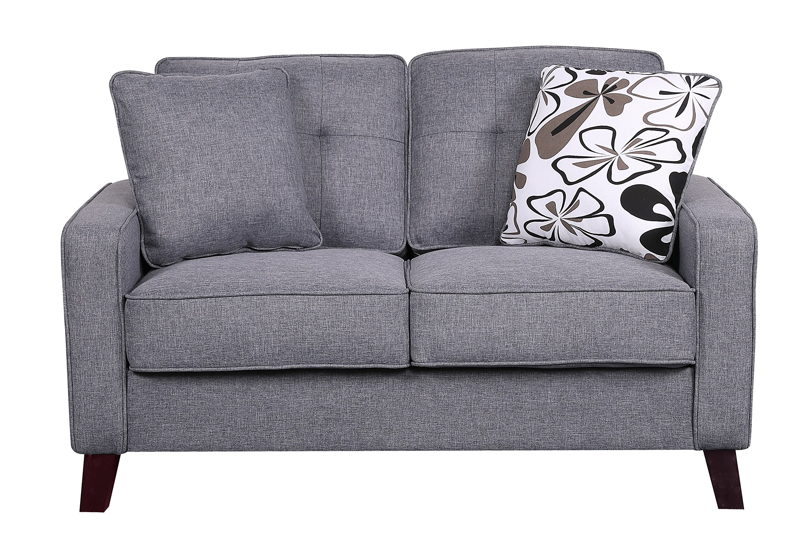 e2abbc4c0f91cb Get Quotations · Container Furniture Direct Modern Collection Upholstered  Linen Loveseat With Wood Legs and Two Button Tufted Accent
