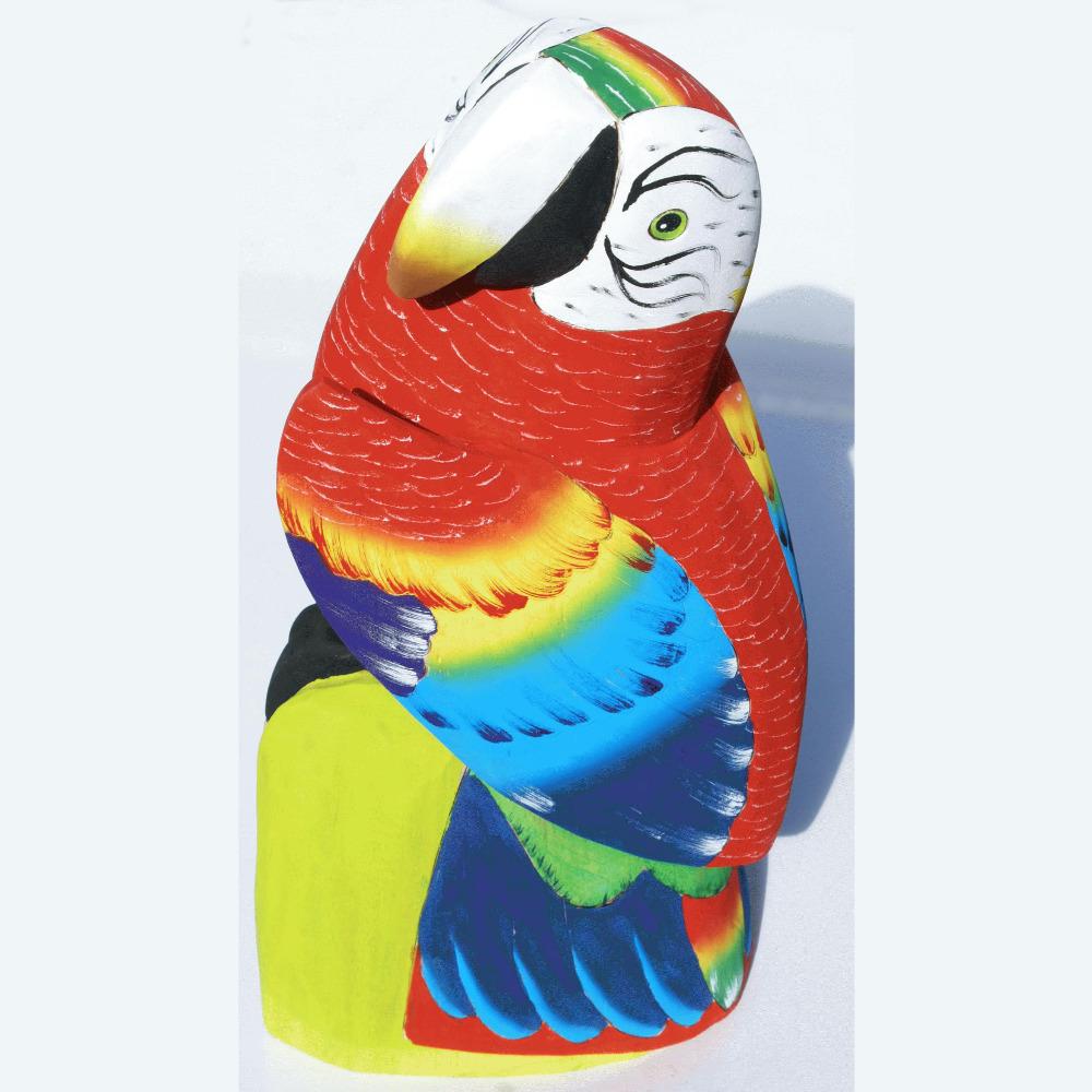 Tropical Parrot Big Figurine Hand Carved Of Balsa Wood Wooden Sculptures Home Decor Art Ecuador