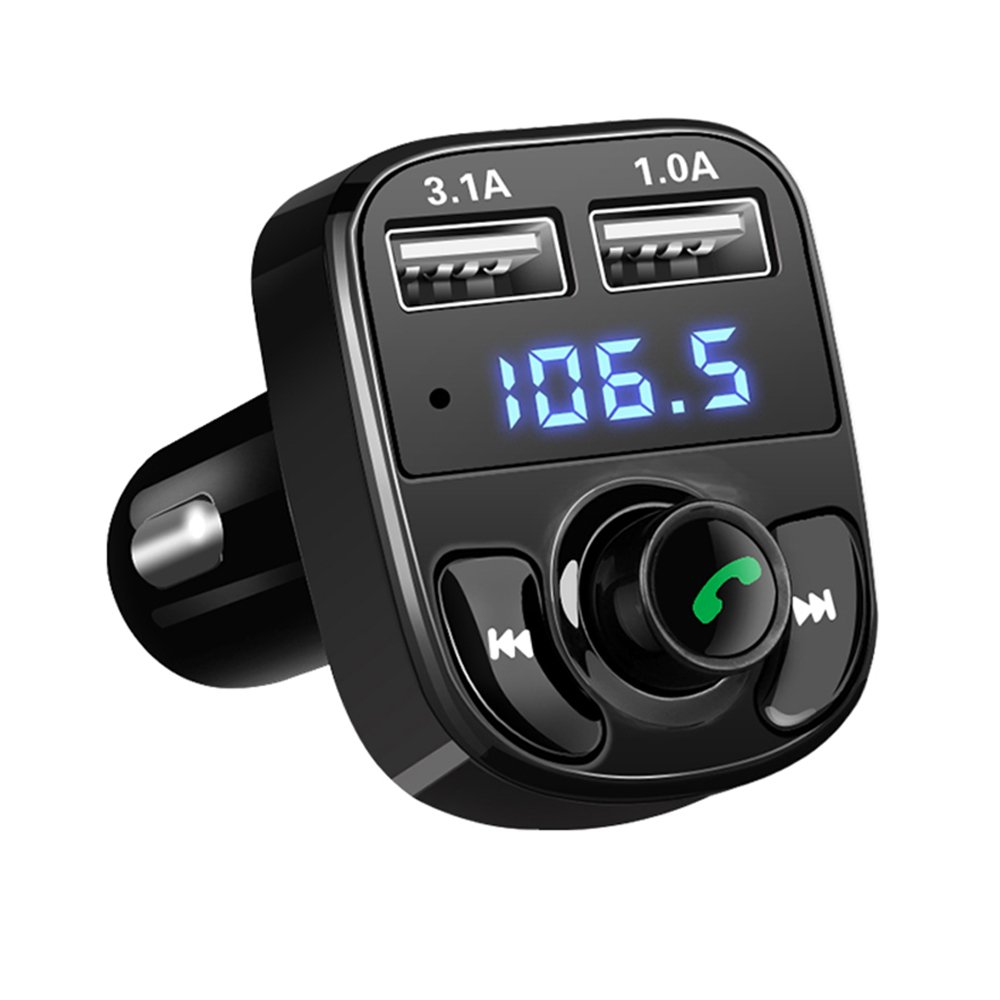 Bluetooth FM Transmitter, ONEVER Dual USB Car Charger Wireless in-Car Music Adapter Hands-Free Calling Car Kit, Music Player Support TF Card USB Flash Drive