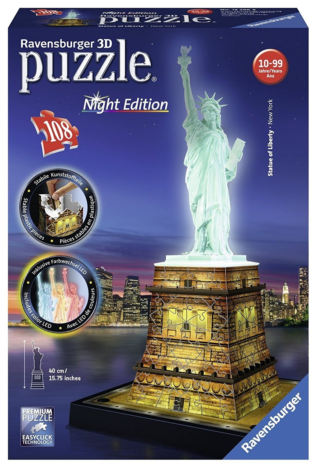 ef64b7c0fd2 Get Quotations · Ravensburger Statue of Liberty Night Edition 108 Piece 3D  Jigsaw Puzzle for Kids and Adults -