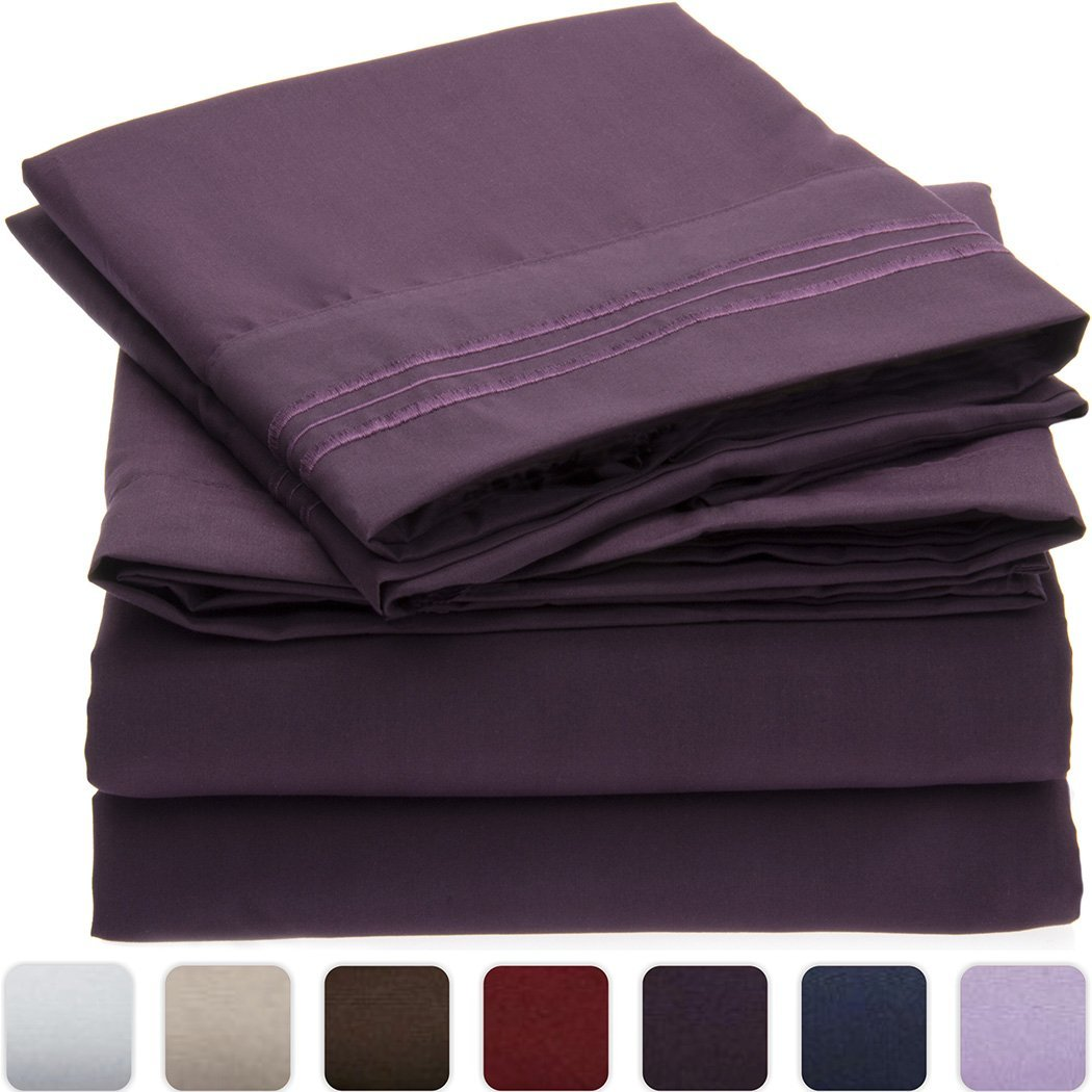 Mellanni 3pcs Bed Sheet Set Brushed Microfiber 1800 Bedding - Wrinkle, Fade, Stain Resistant - Hypoallergenic - 3 Piece - 1 Fitted Sheet and 2 Pillowcases (Queen, Purple)