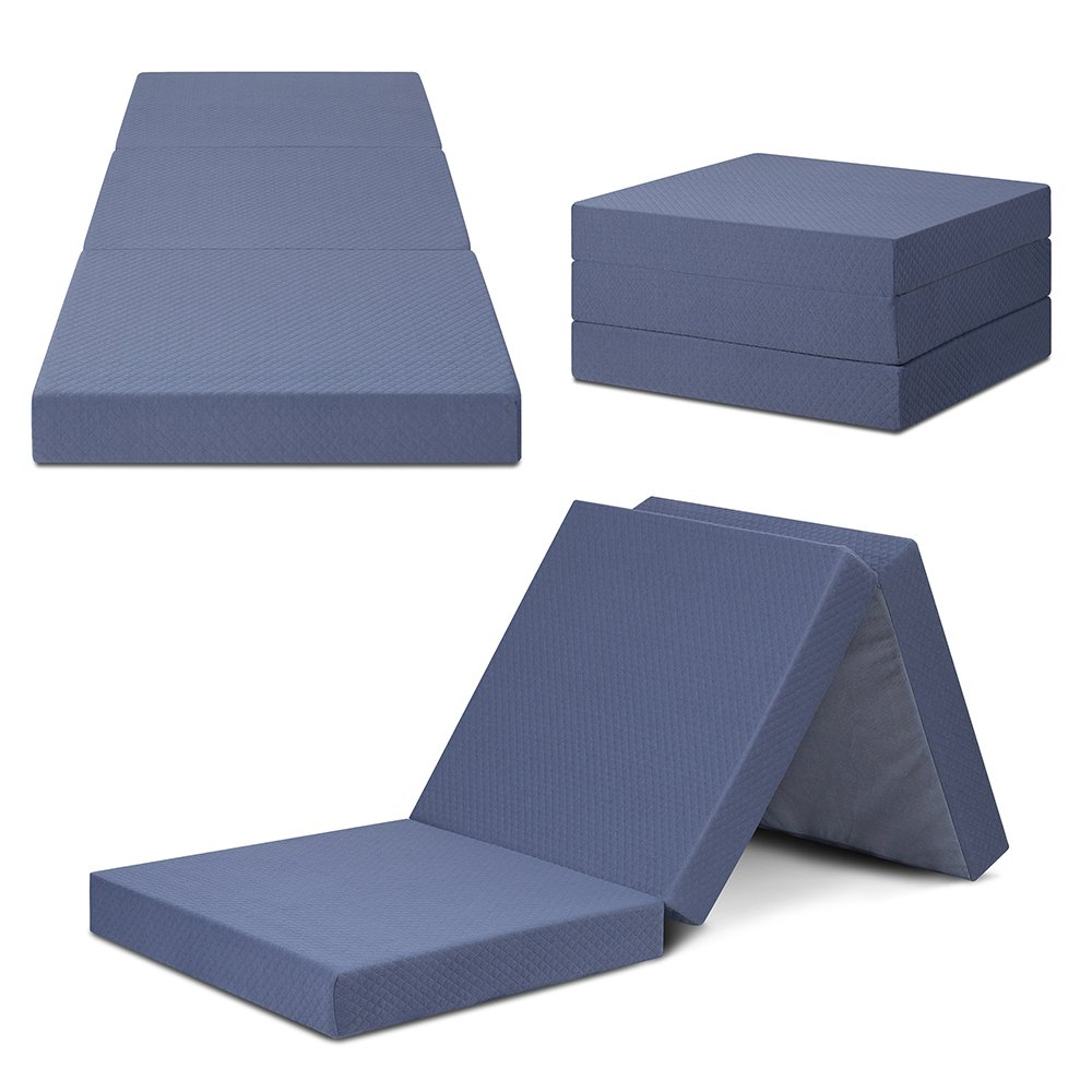 SLEEPLACE 4 inch Multi Layer Tri-Folding Memory Foam Mattress (Grey)