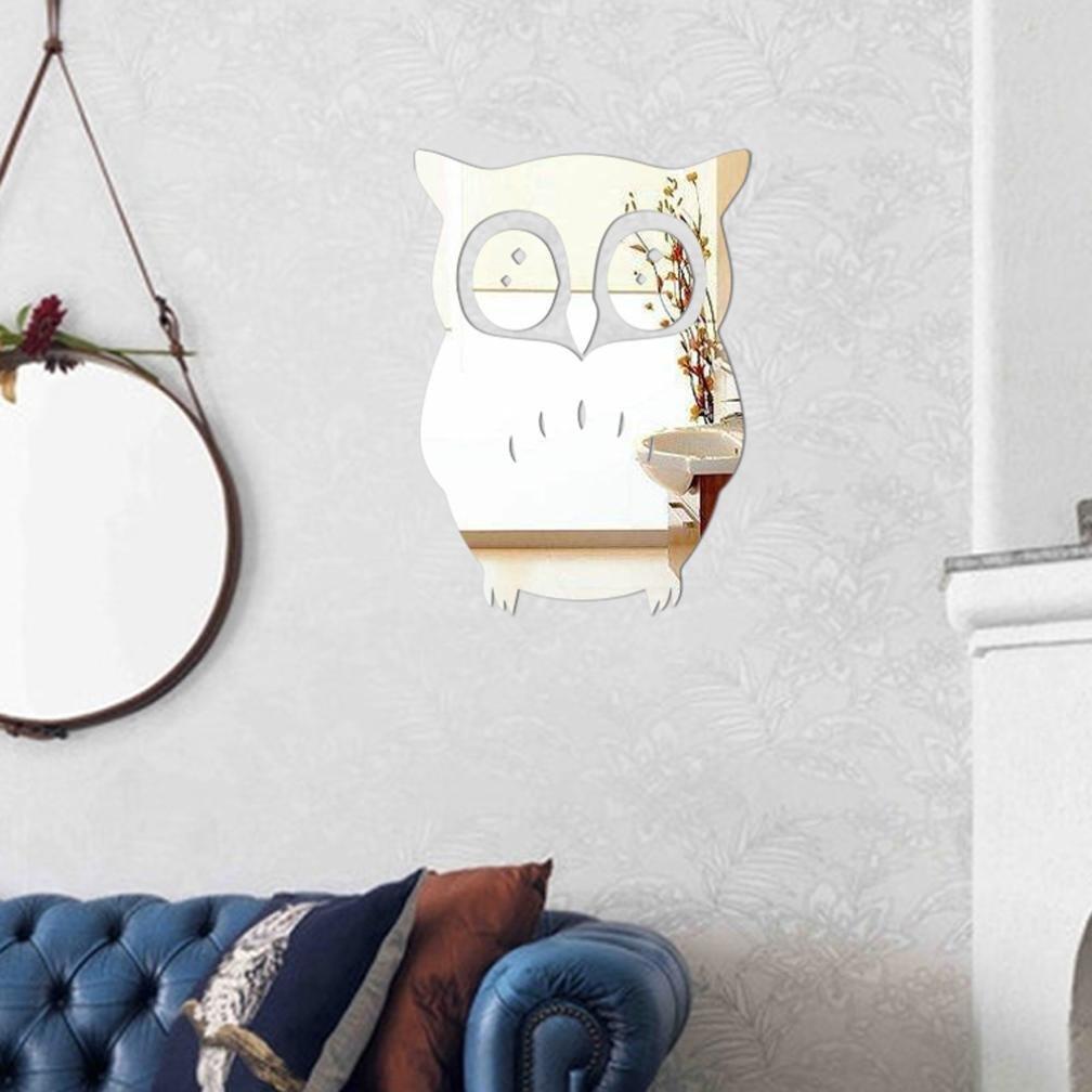 Rumas 3D Owl Mirror Vinyl Removable Wall Sticker Decal Home Decor Art (Silver)