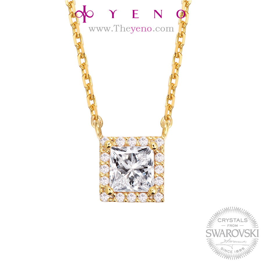 YENO Crystals from Swarovski Jewelry Metal Color White and Yellow Fashion Gift New Korean design Minimal Necklace