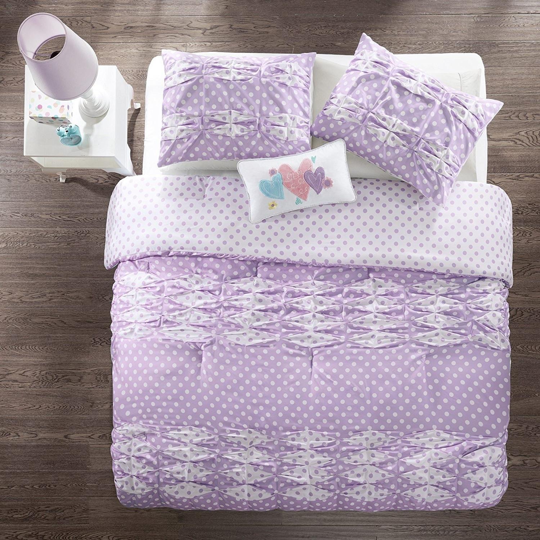 Buy Osd 4pc Girls Purple White Polka Dots Ruffle Theme Comforter Full Queen Set Light Lavender Girly Pretty Polkadot Bedding Cute Horizontal Diamond Pleat Ruffles Themed Pattern In Cheap Price On Alibaba Com
