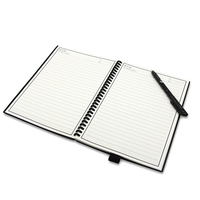 Custom Reusable Smart Erasable Waterproof Paper Notebook with Plastic Spiral Bound and Plastic Cover
