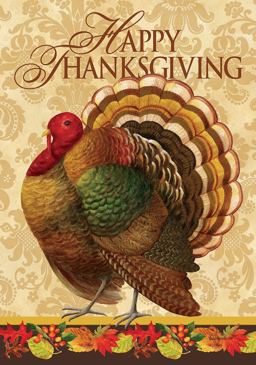 Thanksgiving Turkey - STANDARD Size, 28 Inch X 40 Inch, Decorative Double Sided Flag Printed in USA - Copyright and Licensed, Trademarked by Custom Décor Inc.