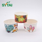 Hot selling disposable ice cream cups wholesale white ice cream paper cup with cover