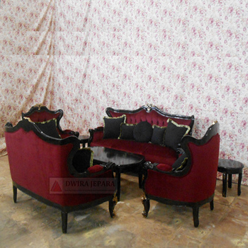 Living Room Teak Sofa Sets With Antique Carving Furniture Style