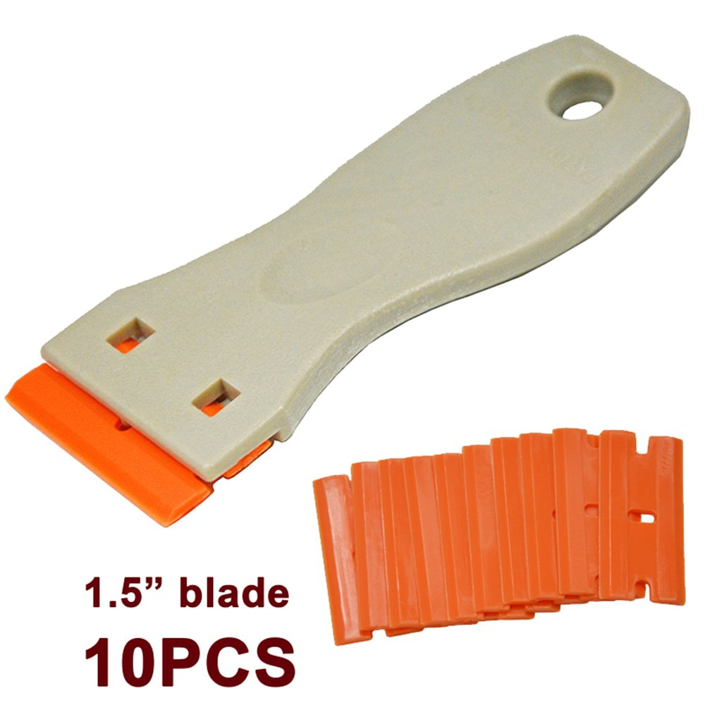 "Ehdis 1.5"" High Visibility Mini Razor Plastic Double Edged Blade Scraper with 10PCS Plastic Razor Scraper Blades for Scraping Labels and Decals from Glass, Windshields"