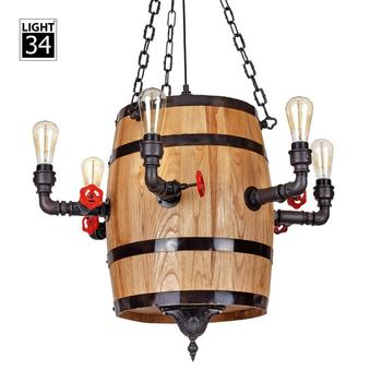 Decorative Hanging Light With Edison Bulb Modern Wooden Barrel Pendant Lamp