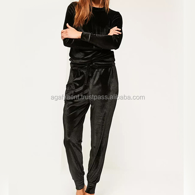 Wholesale Womens Black Velvet Lounge Velours Tracksuit