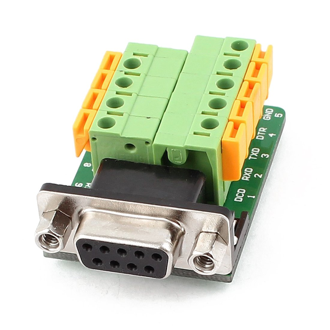 DB9 Female Adapter - TOOGOO(R) DB9 RS232 Serial Female Adapter Plate to 9 Position Terminal Connector Black+Green+Yellow