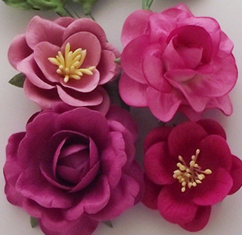 Paper Flowers Mexican Pink Rose Paper Flower And Rose Paper