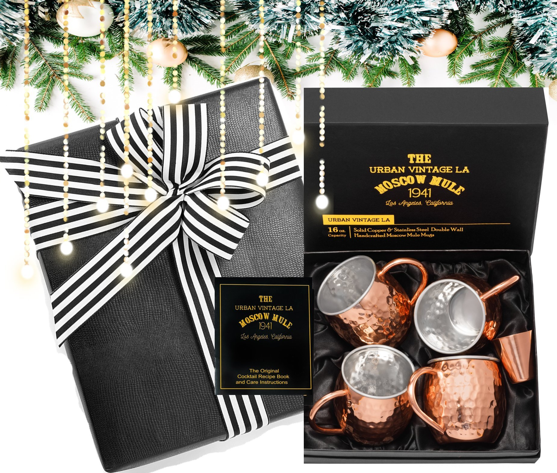 Gift Wrapped Set of 4 Moscow Mule Copper Mugs :: Moscow Mule Mugs with Stainless-Steel Lining Gift Set :: Set of 4 Moscow Mule Mugs :: Copper Mugs for Moscow Mules Gift Boxed :: Lined Copper Mugs