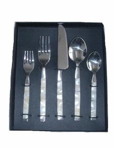 Mother of Pearl mosaic steel cutlery set can be ion any colour