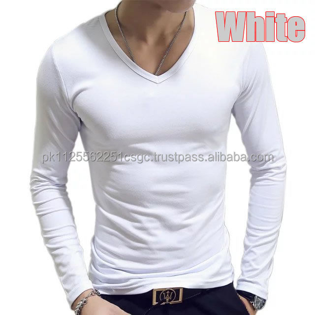 Wholesale 95% Cotton 5% Elastane Mens Long Sleeve V Neck Fitted T-Shirt