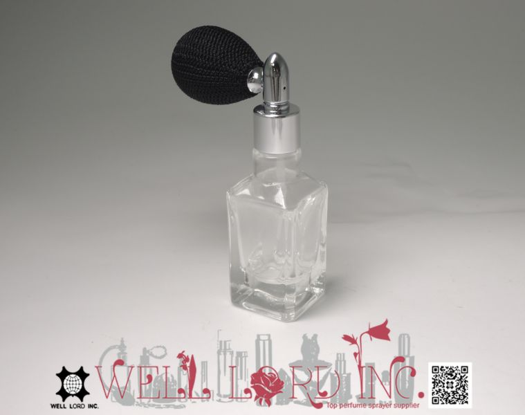 Multipurpose 13ml square transparent glass bottle with medium forest green bulb glass vials