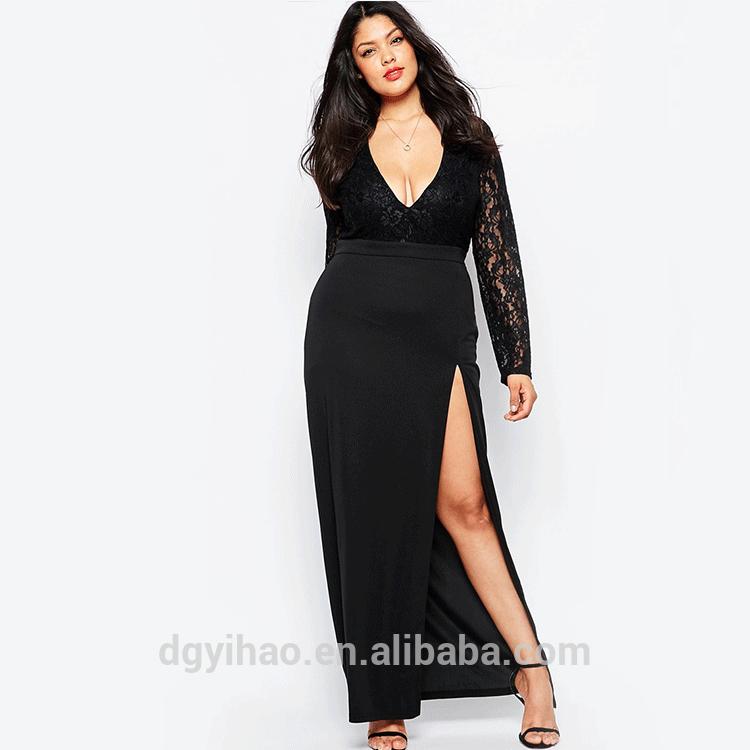 31a7abb607a Yihao Women Plus Size Black Mesh Lace V Neck Night Dressing Gown Dress Sexy  Long Nightgown Nightie Lingerie Fat Women Elegant - Buy Elegant Ladies ...