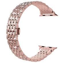Ремешок для часов Apple Watch, блестящий, со стразами, из нержавеющей стали(China)