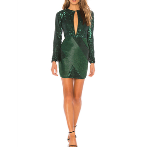 Green Sexy Sequin Dress Women Elegant Evening short prom Dresses