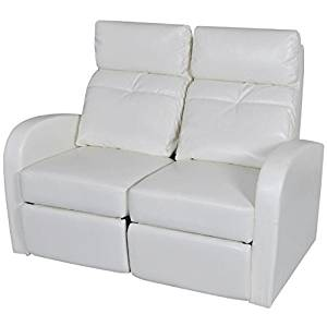 SKB Family Artificial Leather Home Cinema Recliner Reclining Sofa 2-seat White Modern Style Couch Chair Upholstery Furniture