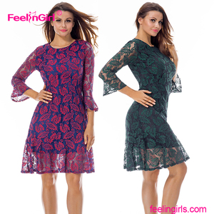 Super Deal Elegant Floral Bell Sleeve Lace Lining 3/4 Sleeve Skater Midi Dress Women