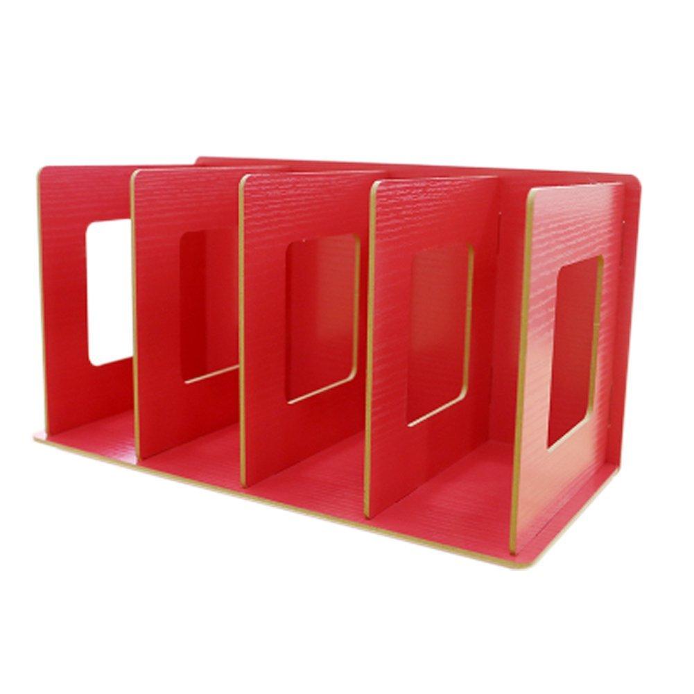 Trycooling 4 Slots Freestanding DIY Desktop Organizer Rack Wood Board Shelf & Office Supply Holder for CDs/Pens/Books/Cosmetics (Red)
