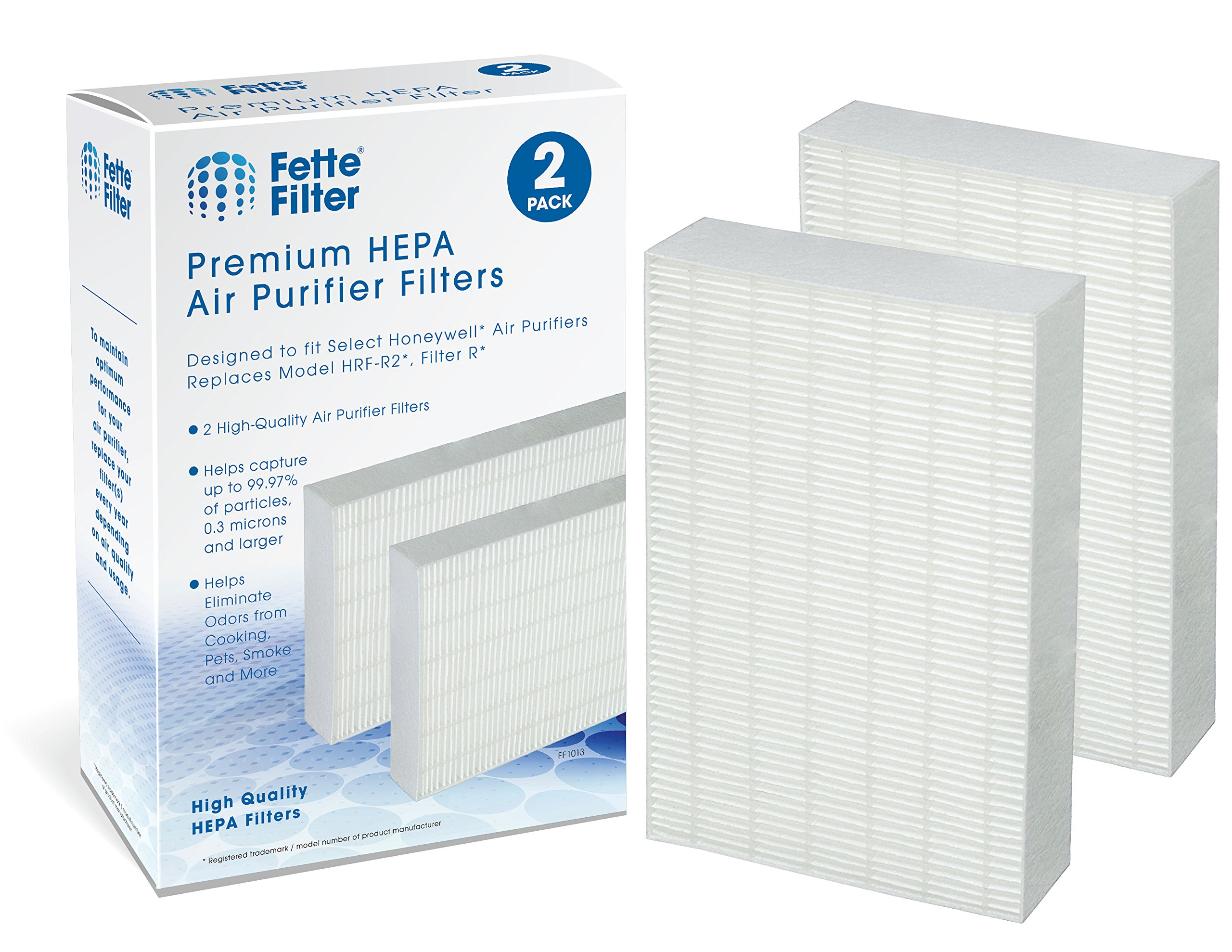 Fette Filter Air Purifier Filters. Compatible with HRF-R2, HRF-R3, Filter R (HRF-R2, 2-Pack)