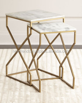 2 Piece Metal Nesting End Tables With Marble Top For Living Room Furniture  - Buy 2 Piece Metal Nesting End Tables For Living Room Furniture,Nesting ...