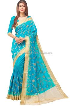 Turquoise Silk Saree Wedding Collection Indian Sarees Online Shopping
