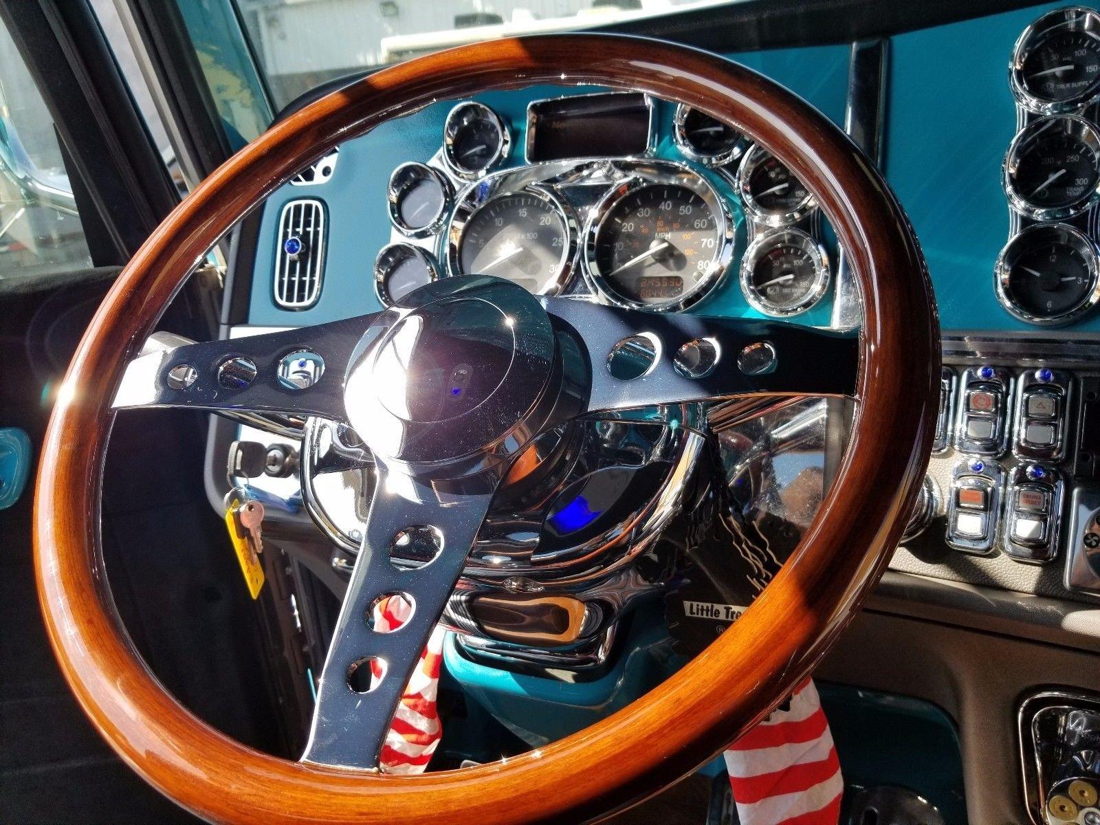 Peterbilt 18 4 Spoke Chrome Cherry Wood Steering Wheel