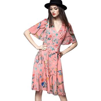 SUMMER CASUAL OCCASION POLYESTER A LINE KNEE LENGTH HALF SLEEVE V NECK BELTED FLORAL PRINTED SHORT PARTY DRESS/BEACH TUNIC
