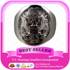 Customized Pure Sterling Silver 925 Signet Style Military Ring