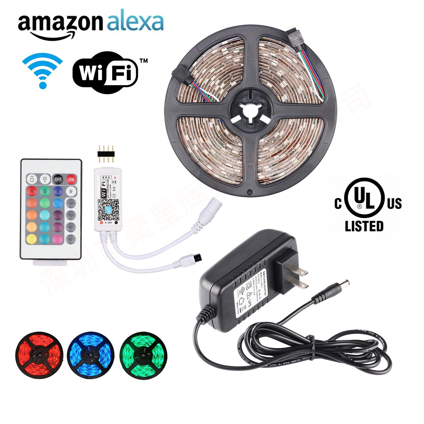 Smart LED Strip Lights-WiFi Controlled UL LED Strip Light Kit 16.4ft 150leds 5050 Waterproof IP65 LED Lights Compatible with Alexa, Google Home, Nest, Android and iOS System