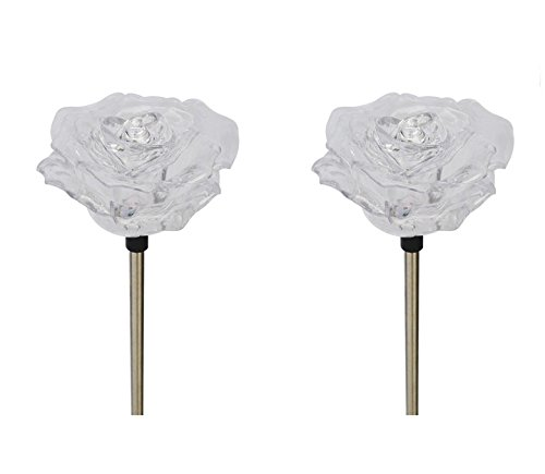 Solar Powered Rose Flower Garden Stake Outdoor Color Change Lights (Set of 2)