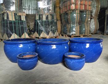 Whole Blue Glazed Planters Large