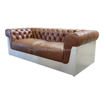 Aviator Echtem Leder Zweisitzer Chesterfield-sofa,Moderne Flieger ...