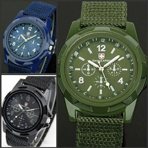 핫 Seller Army 패션 Nylon 꼰 군 끈 Marine Air Force Sports Watches