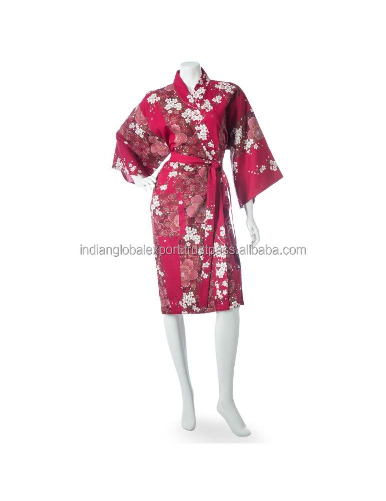 64401b781 Cherry Blossom Print Short Red Yukata Kimono - Buy Sexy Japanese ...