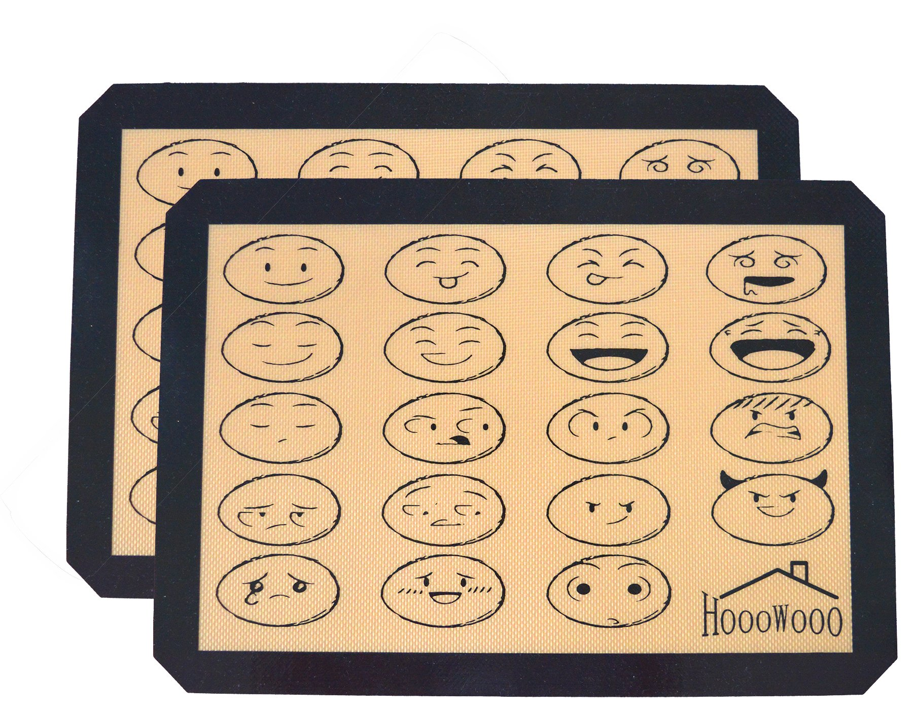 """HoooWooo Non-stick Professional Grade Quality Silicone Baking Mats,Half Sheets 16-1/2"""" x 11-5/8"""",2 Pack"""