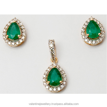 d4f3f0bd7 Tear Drop Emerald Yellow Gold Design Tiny Pendant Set - Buy 14k Gold ...