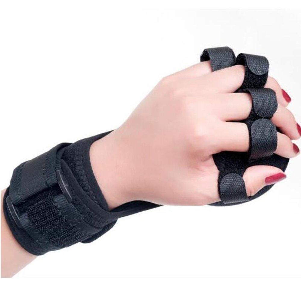Finger Posture Corrector Anti-Spasticity Ball Splint, 2 in 1 Finger Device Training Equipment Finger Wrist Hand Orthosis with Ball Stroke Hemiplegia Rehabilitation Health Assist Grasp