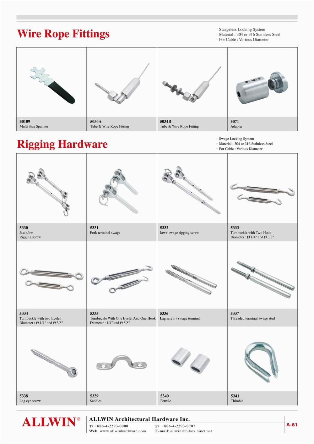 Stainless Steel Rigging Hardware Jaw Fork Swage Terminals Wire Rope ...