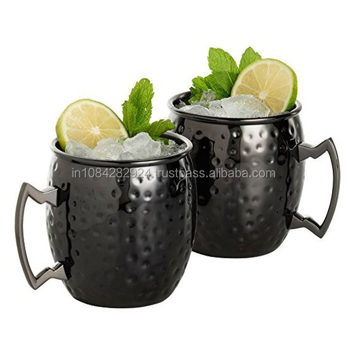 BLACK HAMMERED MOSCOW MULE MUG WITH NICKLE