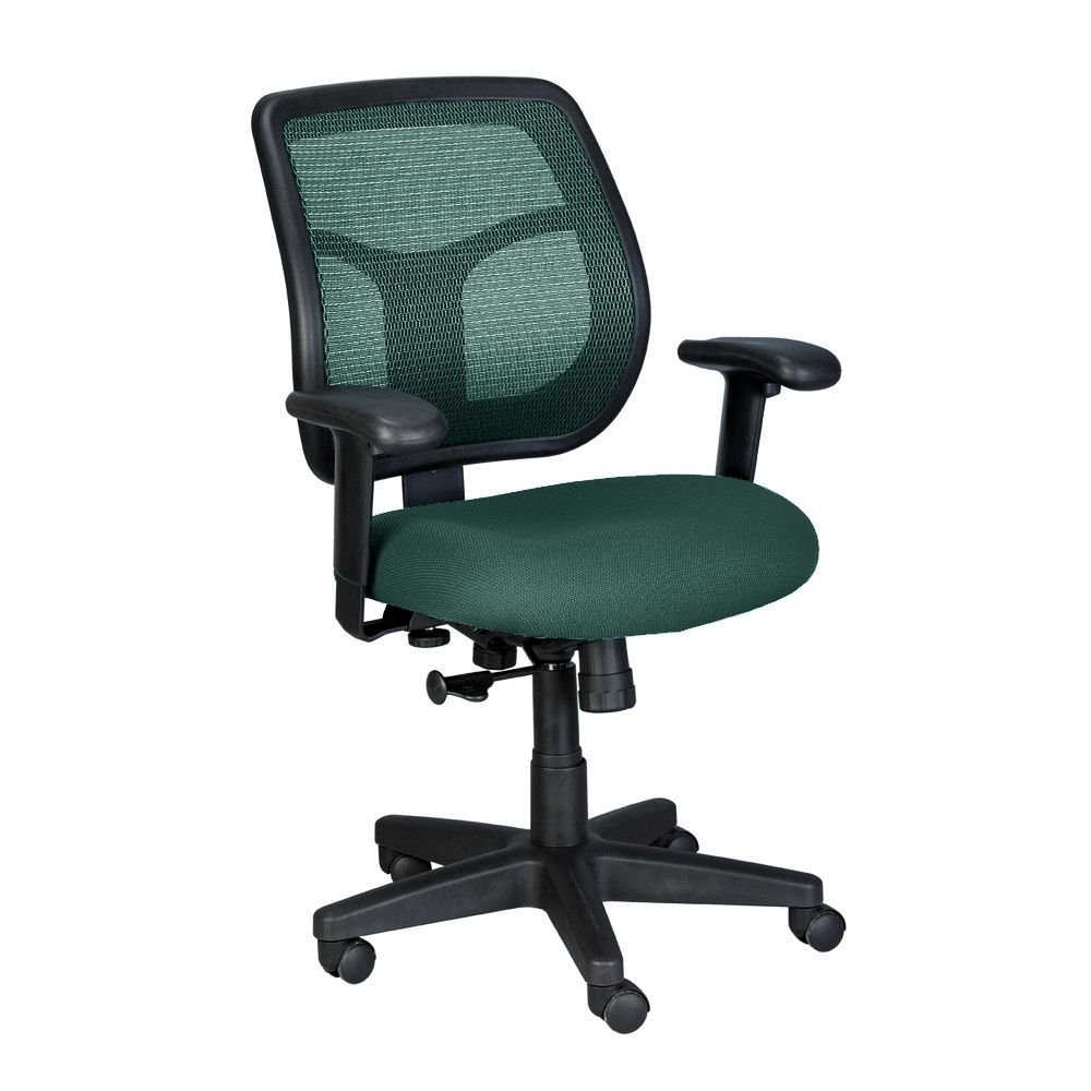 "Apollo Mid-Back Mesh & Fabric Ergonomic Computer Chair - 26""W x 20""D x 36-40.5""H Green Mesh/Green Fabric Dimensions: 26""W x 20""D x 36-40.5""H Seat Dimensions: 20.5""Wx19.25""Dx18-22""H"