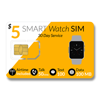 $5 SmartWatch SIM Cards - Compatible With 2G 3G 4G LTE GSM Smart watches & Wearables-30 Day Kids Senior GPS tracking Service