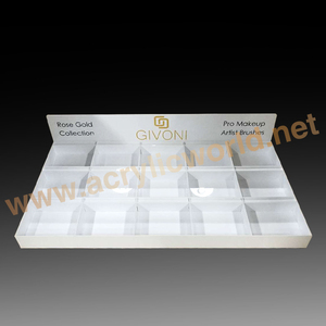 Acrylic cosmetic showcase logo design display unit with pockets,lipstick stand holder with drawer,make up countertop storage box